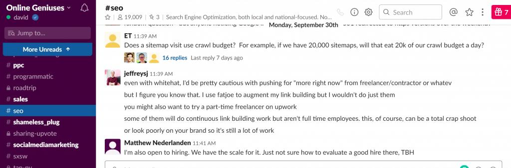 Online Geniuses Slack Community Example