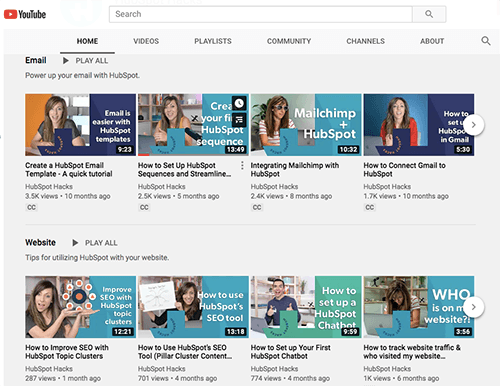 HubSpot Hacks Videos on YouTube