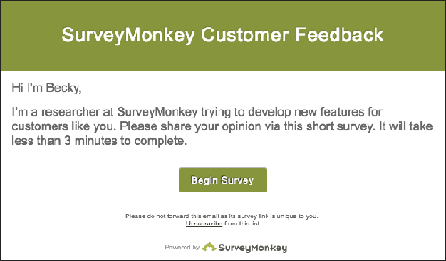 Email with survey call to action from SurveyMonkey