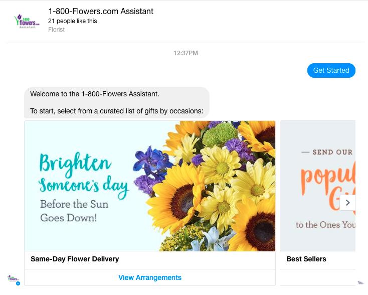 1-800 Flowers Facebook Messenger Chatbot