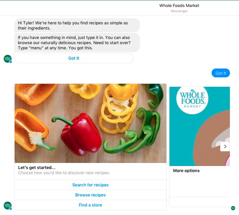 Whole Foods Messenger bot