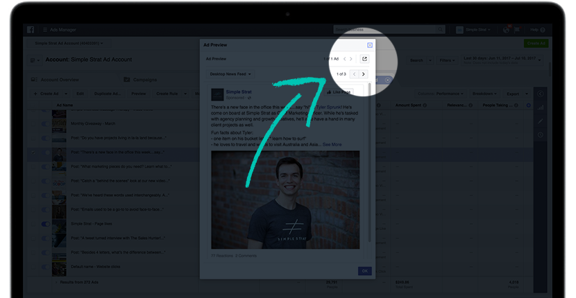 Facebook Ad Preview Launch Button