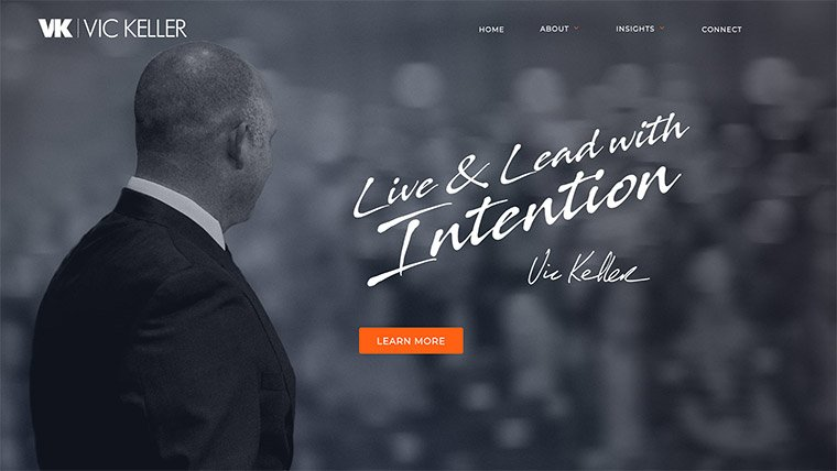 Example of strong personal brand statement on Vic Keller's website