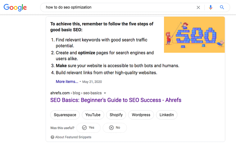 Screenshot of Ahrefs SERP top result for how to do seo optimization