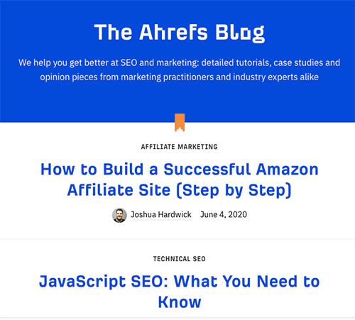 Screenshot of Ahrefs blog page