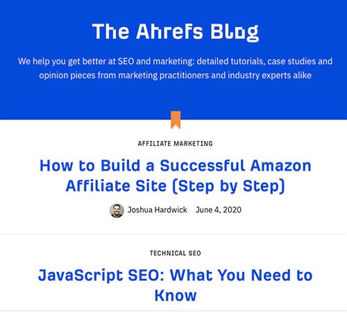 Screenshot of Ahrefs blog page