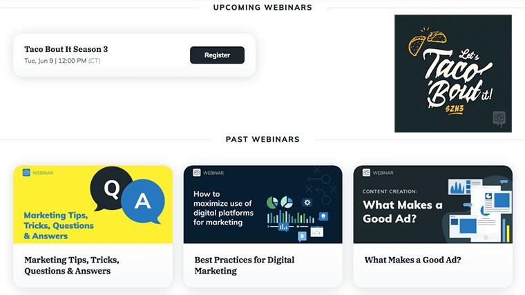Screenshot of CompanyCam's webinars