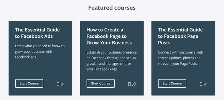 Screenshot of three of Facebook Blueprint's featured courses