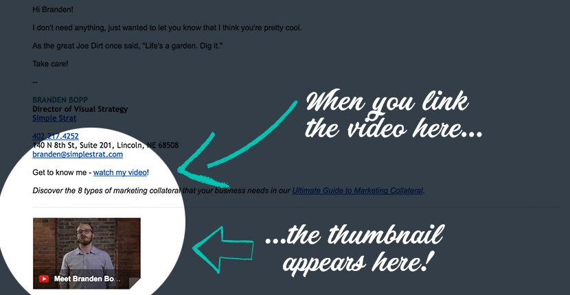 Video thumbnail in Simple Strat team member email.