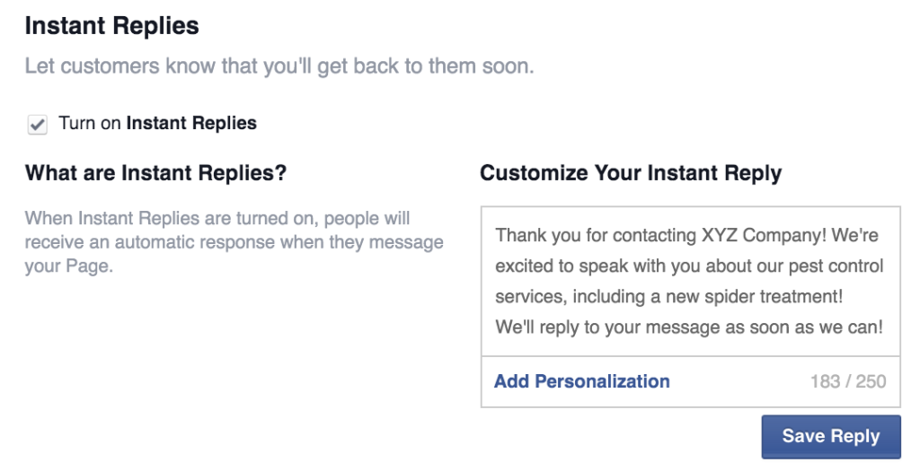 Facebook Instant Replies - who we are