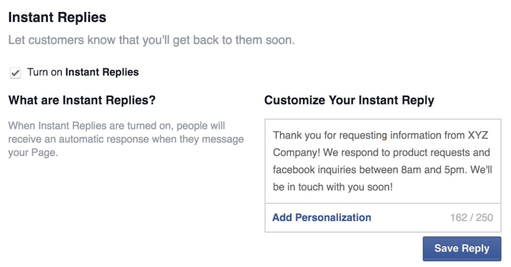 Facebook instant replies