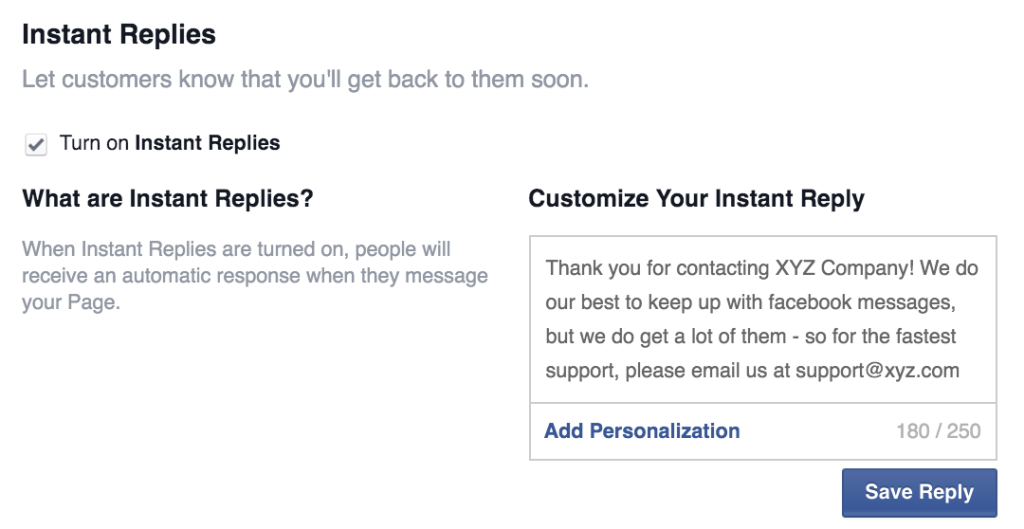 Facebook instant reply