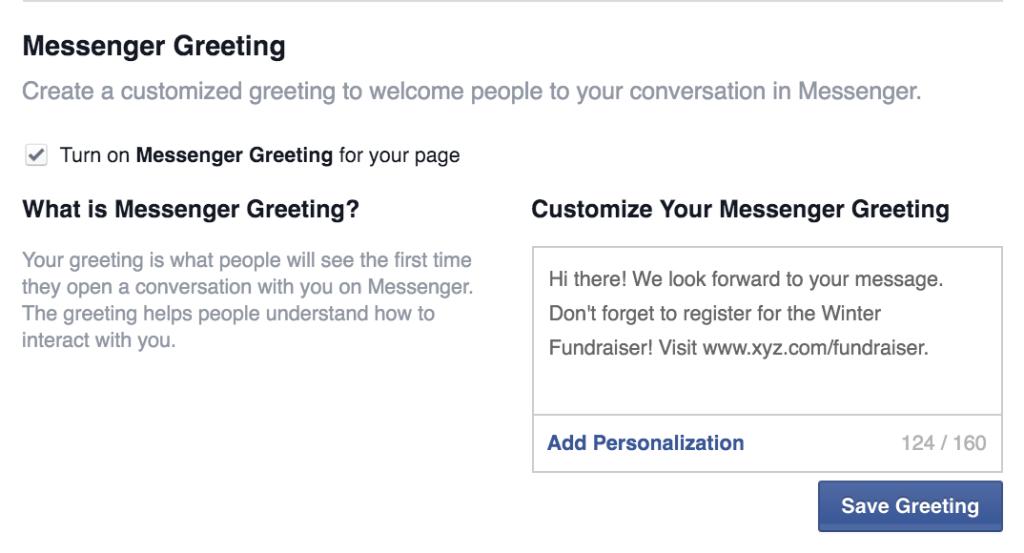 Facebook messenger greeting