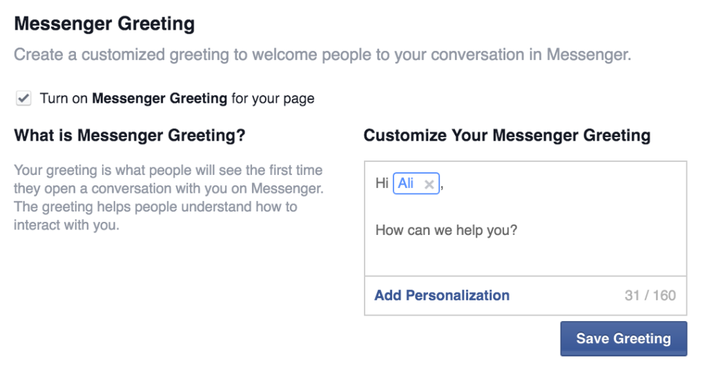 Personalized facebook messenger greeting
