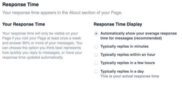 Facebook messenger response time