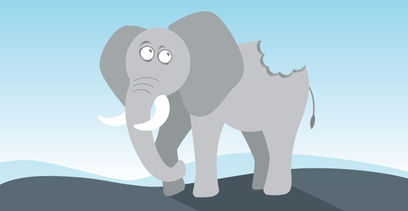 Elephant with chunk out of it.