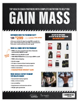 Marketing Collateral: Sell Sheet. Complete Nutrition Sell Sheet, created by Simple Strat, for Gain Mass products