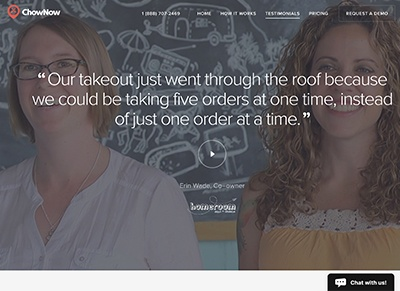 Marketing collateral: testimonials. ChowNow testimonials and reviews page on their website.
