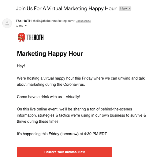 The HOTH marketing coronavirus happy hour email